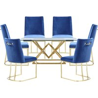Parma Glass Dining Set In Gold Base With 6 Blue Milo Chairs
