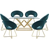 Parma Glass Dining Set In Gold Base With 6 Green Barclay