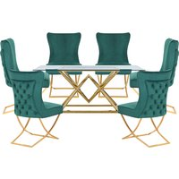 Parma Glass Dining Set In Gold Base With 6 Green Cavalli Chairs