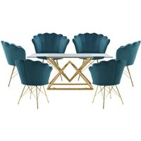 Parma Glass Dining Set In Gold Base With 6 Green Conrad Chairs