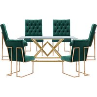 Parma Glass Dining Set In Gold Base With 6 Green Dino Chairs