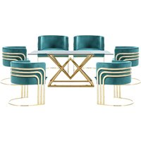 Parma Glass Dining Set In Gold Base With 6 Green Lula Chairs
