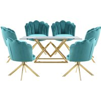 Parma Glass Dining Set In Gold Base With 6 Green Mario Chair