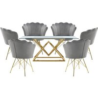 Parma Glass Dining Set In Gold Base With 6 Grey Conrad