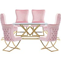 Parma Glass Dining Set In Gold Base With 6 Pink Lorenzo Chai
