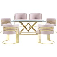 Parma Glass Dining Set In Gold Base With 6 Pink Lula Chairs