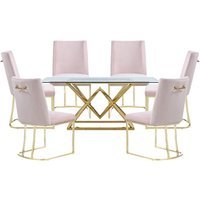 Parma Glass Dining Set In Gold Base With 6 Pink Milo Chairs