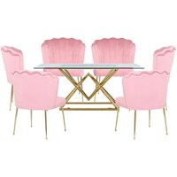 Parma Glass Dining Set In Gold Base With 6 Pink Nora Chairs
