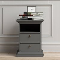 Product photograph showing Paroya Wooden 2 Drawers Bedside Cabinet In Matt Grey