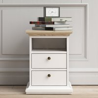 Product photograph showing Paroya Wooden 2 Drawers Bedside Cabinet In White And Oak