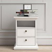 Product photograph showing Paroya Wooden 2 Drawers Bedside Cabinet In White