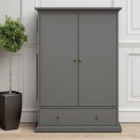 Product photograph showing Paroya Wooden Double Door Wardrobe In Matt Grey With 1 Drawer