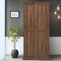 Paroya Wooden Double Door Wardrobe In Walnut