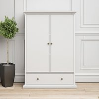 Product photograph showing Paroya Wooden Double Door Wardrobe In White With 1 Drawer