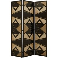 Product photograph showing Parra Wooden Folding Patterned Black And White Room Divider