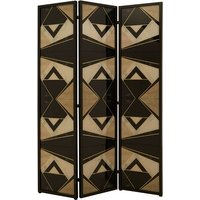 Product photograph showing Malmok Wooden Folding Patterned Black And White Room Divider
