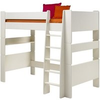 Product photograph showing Pathos Wooden High Sleeper Bed In White With Ladder