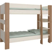 Product photograph showing Pathos Wooden Bunk Bed In White And Stone With Ladder