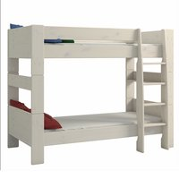 Product photograph showing Pathos Wooden Bunk Bed In White Wash With Ladder