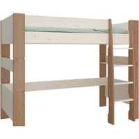 Product photograph showing Pathos Wooden High Sleeper Bed In White And Stone With Ladder