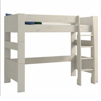 Product photograph showing Pathos Wooden High Sleeper Bed In White Wash With Ladder