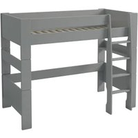 Product photograph showing Pathos Wooden Highsleeper Children Bunk Bed In Grey