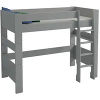 Product photograph showing Pathos Wooden Midsleeper Children Bunk Bed In Grey