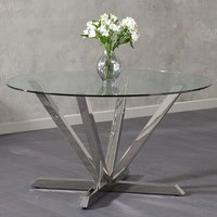 Product photograph showing Patrick Round Glass Dining Table With Chrome Legs