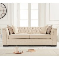 Product photograph showing Pauleso Linen Fabric Upholstered 3 Seater Sofa In Beige