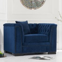 Product photograph showing Pauleso Velvet Upholstered Armchair In Blue