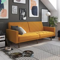 Paxson Linen Sofa Bed In Mustard With Wooden Feets