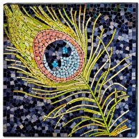 Product photograph showing Peacock Feather Mosaic Glass Wall Art