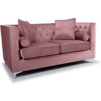 Product photograph showing Peckham 2 Seater Sofa In Pink Brushed Velvet With Chrome Legs