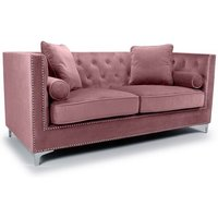 Product photograph showing Peckham 3 Seater Sofa In Pink Brushed Velvet With Chrome Legs