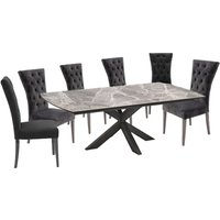 Pelagius Extending Dining Table With 6 Pembroke Charcoal Cha