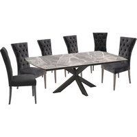 Pelagius Extending Dining Table With 8 Pembroke Charcoal Chairs
