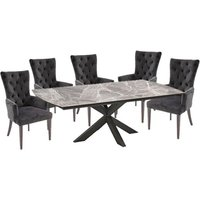Pelagius Extending Glass Dining Table 8 Pembroke Charcoal Chairs
