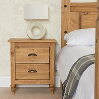 Product photograph showing Pembroke Wooden Bedside Cabinet In Waxed Pine With 2 Drawers
