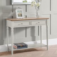 Product photograph showing Pendleton Wooden Console Table In Limed Oak And Grey With 2 Drawers