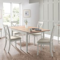 Product photograph showing Pendleton Extending Dining Table In Limed Oak And Grey With 4 Chairs