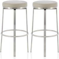 Product photograph showing Perona Bar Stool In Taupe Faux Leather And Steel Legs In A Pair