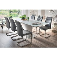 Perry Extendable Glass Dining Set Matt White With 6 Riva