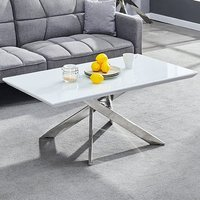 Product photograph showing Petra Glass Top Coffee Table In White High Gloss And Chrome Legs