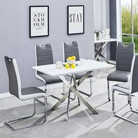 Product photograph showing Petra Glass Top Dining Table In White High Gloss With 4 Chairs