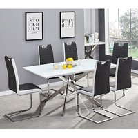 Product photograph showing Petra Glass Top Dining Table In White Gloss 6 Black White Chairs