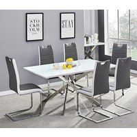 Product photograph showing Petra Glass Top Dining Table In White Gloss 6 Grey White Chairs