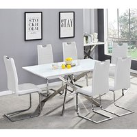Product photograph showing Petra Glass Top Dining Table In White Gloss With 6 White Chairs