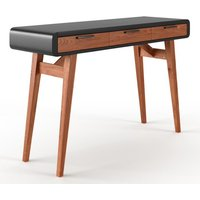 Product photograph showing Pevensey Wooden Computer Desk In Gloss Black And Oak