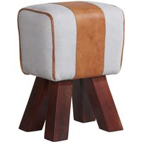 Product photograph showing Phaet Faux Leather Canvas Stool In White And Brown