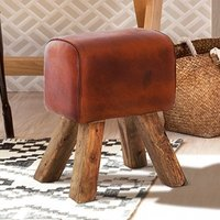 Product photograph showing Phaet Faux Leather Turned Buck Stool In Brown